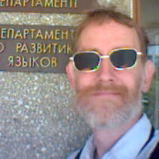 [ Erik in front of the Department of Development of Languages, Pavlodar, 2004-08-23 ]