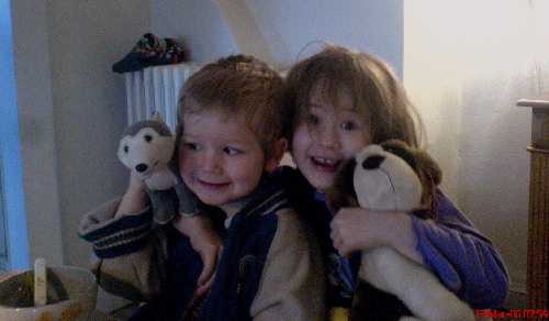 Photo: Balder & Synnøve show their plush animals one early morning in March, 2006